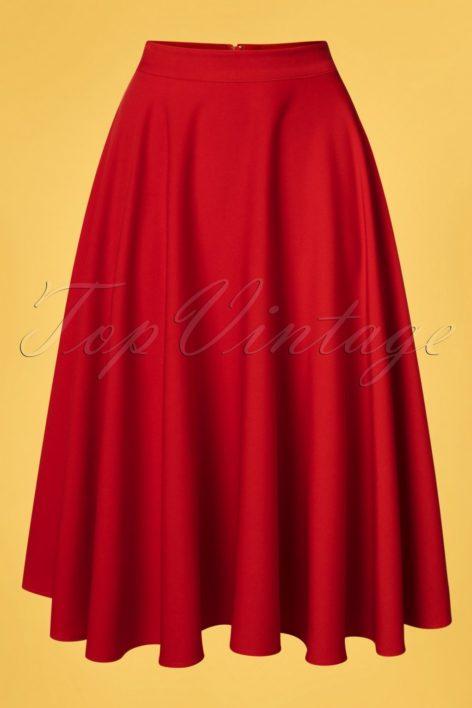 50s Rosie Flared Midi Skirt in Red