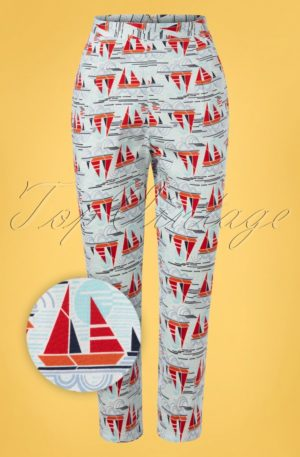 50s Sail Away Capri Trousers in Blue