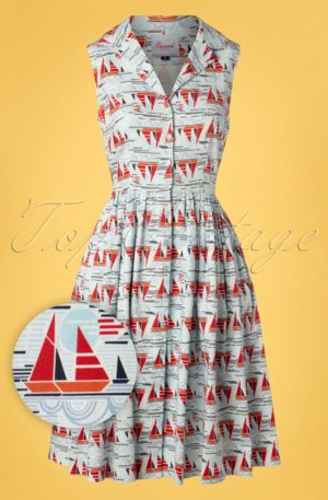 50s Sail Away Shirt Dress in Blue