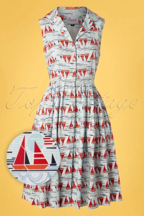 50s Sail Away Shirt Dress in Blue