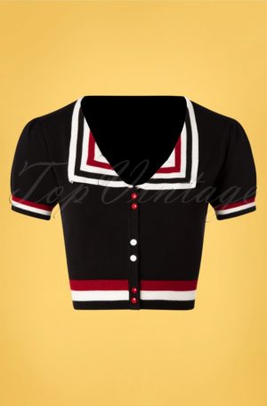 50s Sailor Cropped Cardigan in Black