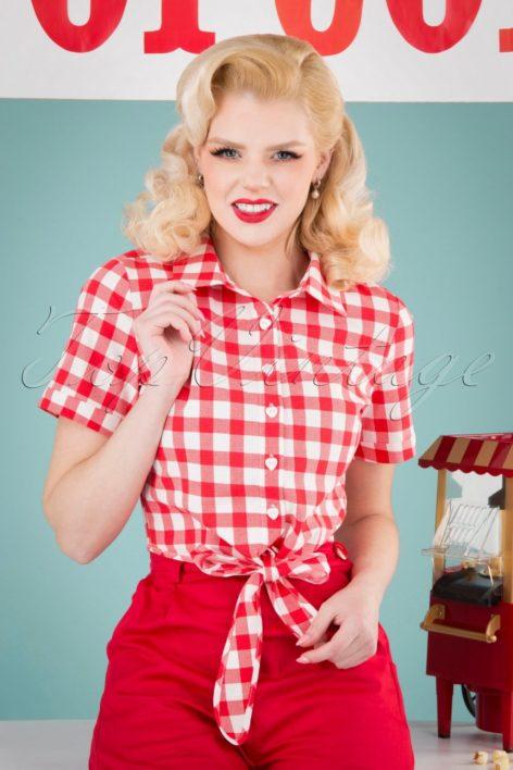 50s Sammy Vintage Gingham Tie Blouse in Red
