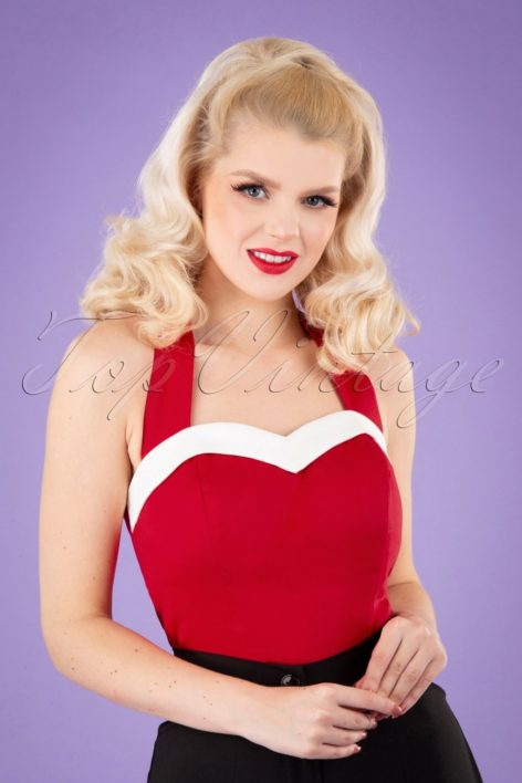 50s Shelly Top in Red