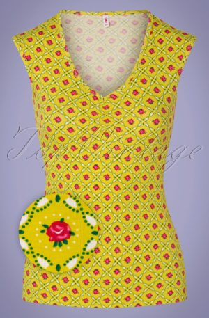 50s Sommerliebe V-Top in Promenade Walk Yellow