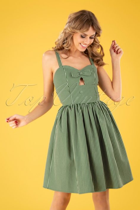 50s Stripes And Bows Swing Dress in Green