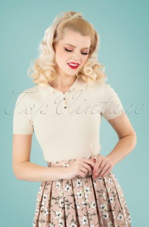 50s Summer Polo in Cream