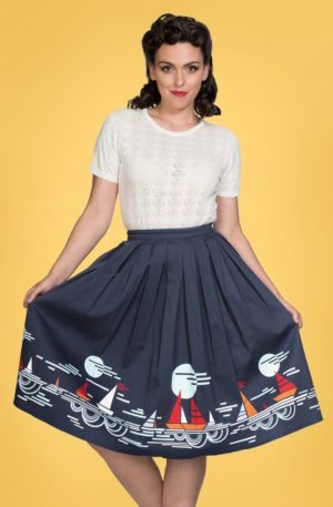 50s Summer Sail Pleated Swing Skirt in Navy