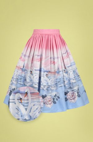 50s Swan Swing Skirt in Pink