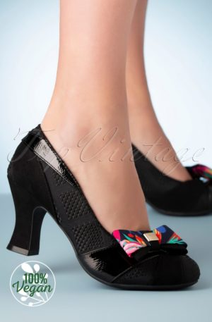 50s Tatum Bow Pumps in Black