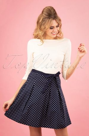 50s Teeny Polkadot Skirt in Navy