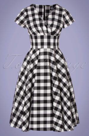 50s Victorine Gingham Swing Dress in Black and White
