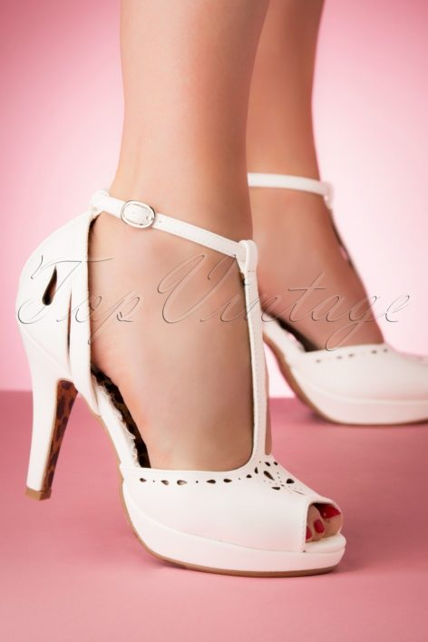 50s Willie Peeptoe Pumps in White