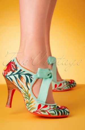 50s Willow Floral Pumps in Aqua