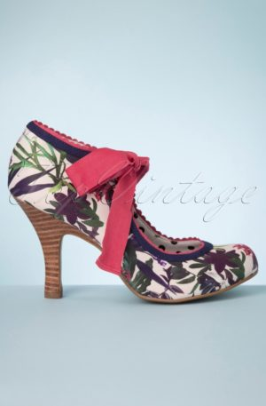 50s Willow Floral Pumps in Sage