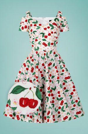 50s Yvette Cherry Swing Dress in White