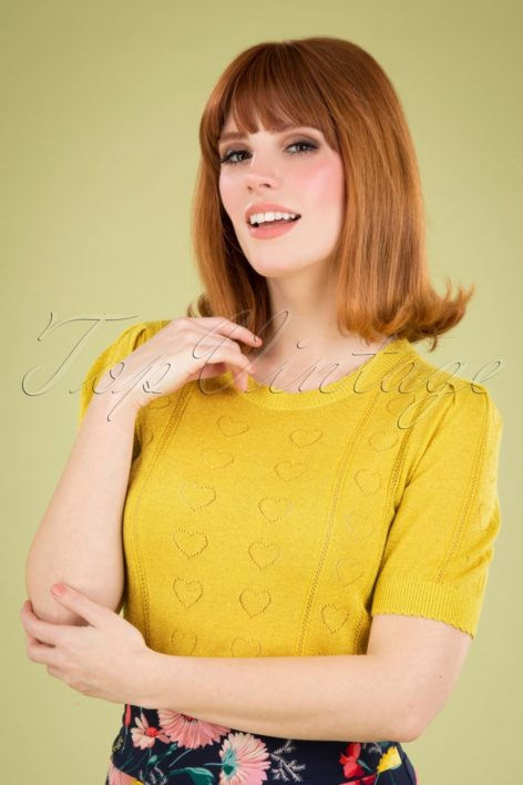 60s Agnes Decor Top in Aurora Yellow
