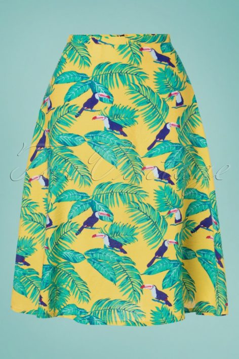 60s All Over Toucan Skirt in Yellow