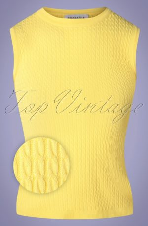 60s Amarillo Knitted Top in Citrus Yellow