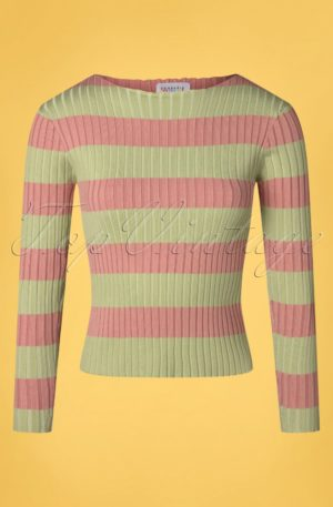 60s Amiyah Stripes Jumper in Green and Pink