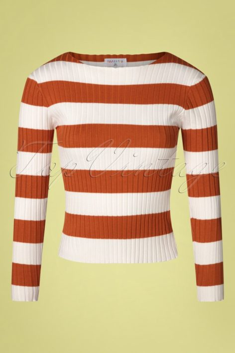 60s Amiyah Stripes Jumper in Rust and White