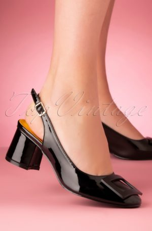 60s Arcadia Patent Pumps in Black