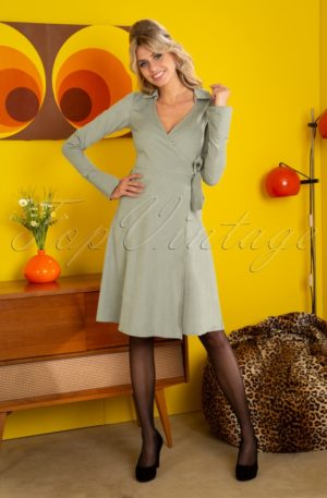 60s Baby Rib Swing Dress in Solid Sage
