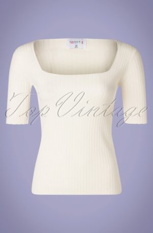 60s Canalé Knitted Top in Ivory White