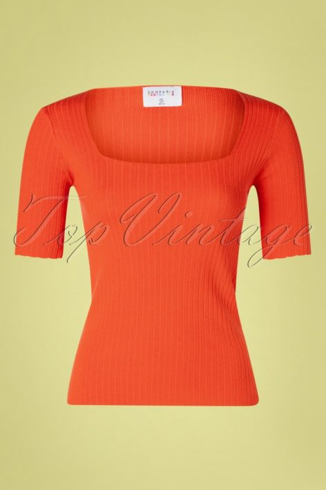 60s Canalé Knitted Top in Tangerine