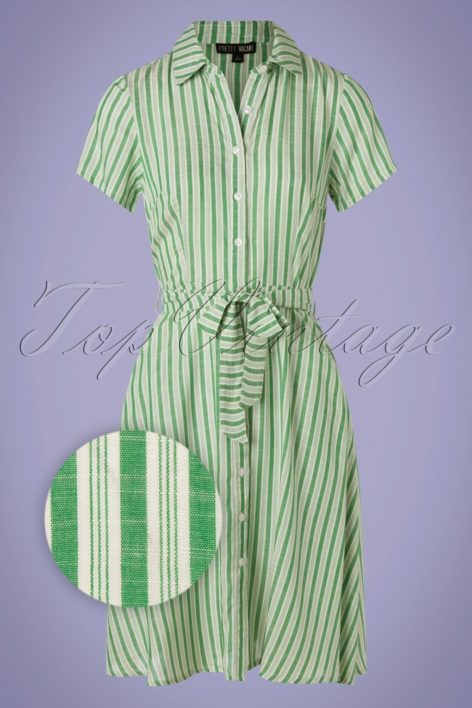 60s Debbie Stripes Dress in Green and Ivory