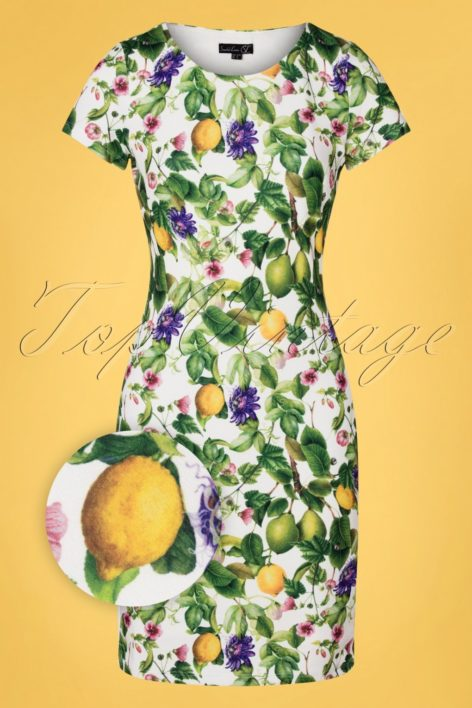 60s Eliza Fruity Floral Pencil Dress in White and Green