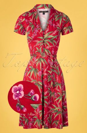 60s Emmy Tahiti Dress in Chili Red