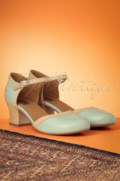 60s Fleet Leather Pumps in Seafoam