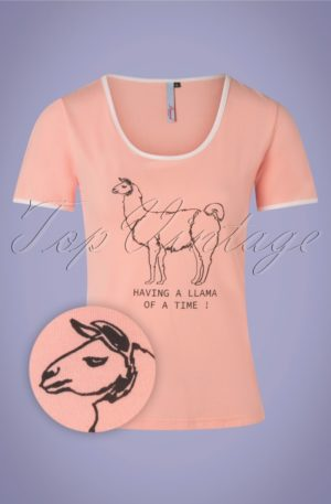 60s Having A Llama Of A Time T-Shirt in Pink