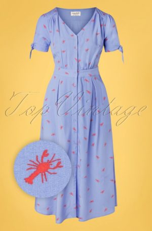 60s Hermione Hot Lobster Midi Dress in Sky Blue