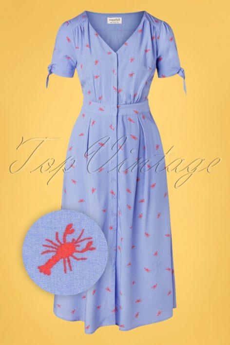 60s Hermione Hot Lobster Midi Dress in Sky Blue
