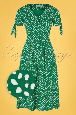 60s Hermione Painterly Spot Midi Dress in Green and White