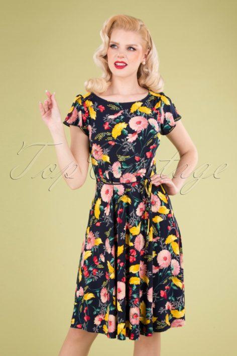 60s Ida Rosabelle Dress in Navy Blue