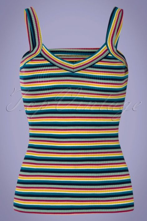 60s Isa Daydream Stripes Camisole Top in Blue