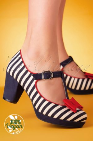60s Jazz Striped Pumps in Navy