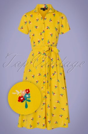 60s Jonie Pretty Floral Dress in Yellow