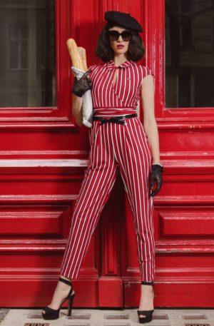 60s Jour Et Nuit Jumpsuit in Les Stripes Red