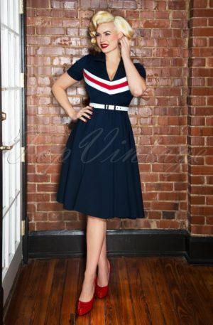 60s June Swing Dress in Navy