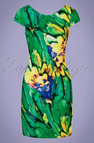 60s Kaitlyn Feather Pencil Dress in Green