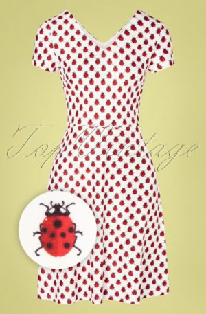 60s Lady Bug Swing Dress in White