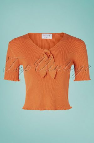 60s Lazo Knitted Top in Cinnamon Orange