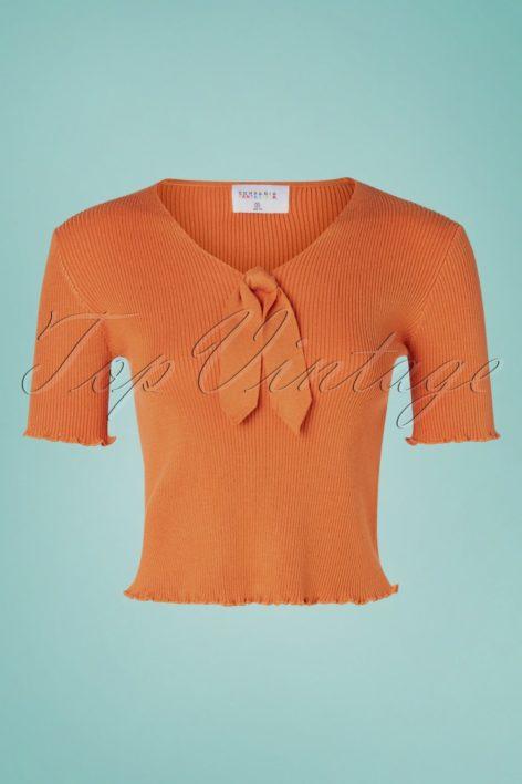 60s Lazo Knitted Top in Cinnamon Orange