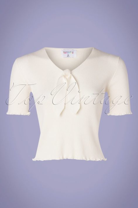 60s Lazo Knitted Top in Ivory White