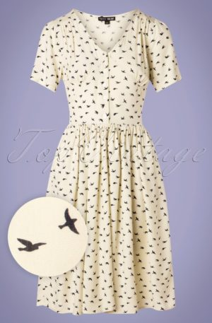 60s Lexie Birds Swing Dress in Cream