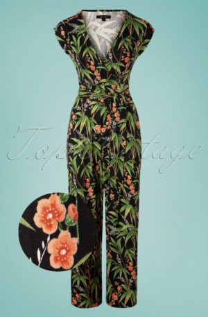 60s Lot Tahiti Cropped Jumpsuit in Black