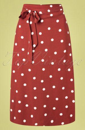 60s Melinda Polka Midi Wrap Skirt in Brick Red